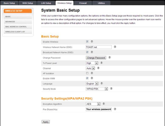DG860P2 Change Wireless Password - TOAST net