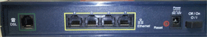Rear of Motorola 3347 DSL Modem